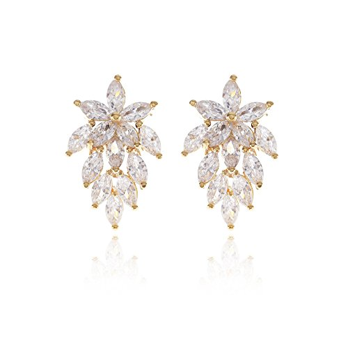 ia Bridal Wedding Earrings with Marquis-Cut CZ Clusters Plated in Genuine Floral Leaf Cluster Earrings for Bride Bridesmaids Mother of Bride Prom ()