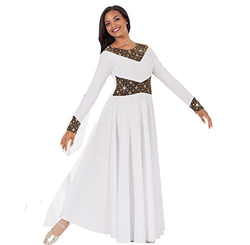 Eurotard Adult Royalty Dance Dress (43866) -WHT/GOLD -M