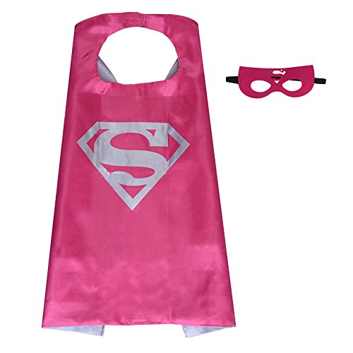 Pawbonds Halloween Costume Superhero Dress Up for Kids - Best Christmas, Birthday Gift, Cosplay Party. Satin Cape and Felt Mask Role Play Set. Cartoon Outfit for Boys and Girls (Supergirl) ()