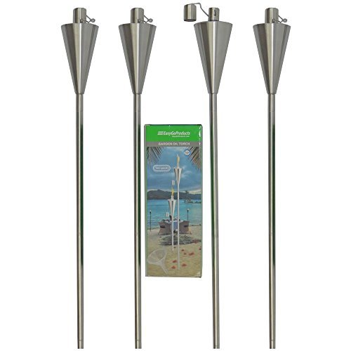 Outdoor Garden Oil Lamp Lanterns with Decorative Stainless Steel Canister and Stand Stake - 45 Inches Tall