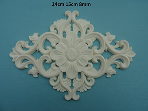 Decorative large flower and scroll center applique onlay furniture moulding M2 ()