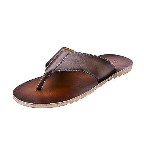 d3d43abfa Genda 2Archer Men s Summer Leather Outdoor Flip Flops Slippers Thong Sandals  best