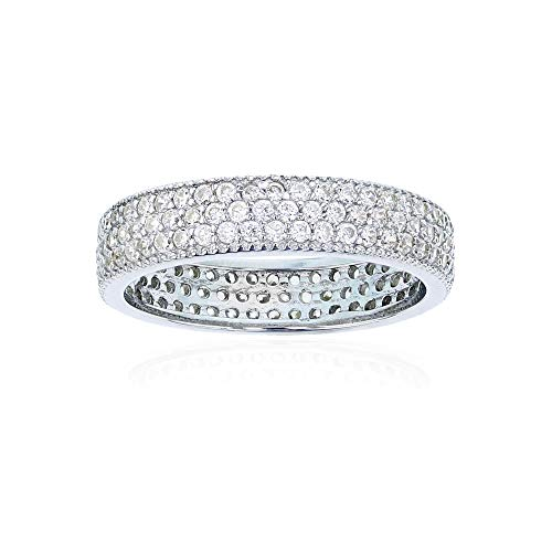 Sterling Silver Cubic Zirconia 3 Row Pave Eternity Band Rings ()