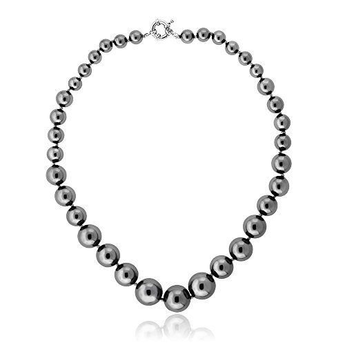18' Dark Grey 8mm to 16mm Shell Pearl Graduated Necklace