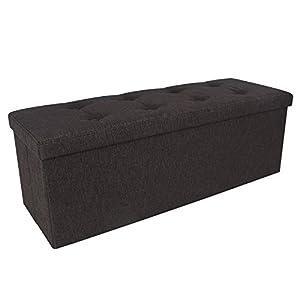 Amazoncom SONGMICS Linenlike Folding Storage Ottoman Bench Foot