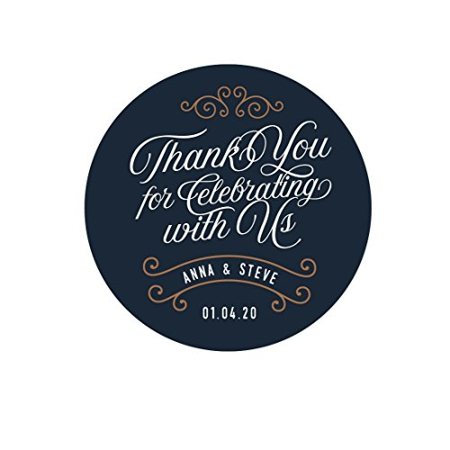Andaz Press Navy Blue Art Deco Vintage Party Wedding Collection, Personalized Round Circle Label Stickers, Thank You for Celebrating With Us, 40-Pack, Custom Name