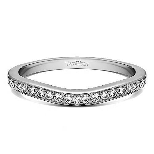 Diamonds (G-H,I2-I3) Dainty Ring In Sterling Silver(0.11Ct) Size 3 To 15 in 1/4 Size Interval by TwoBirch