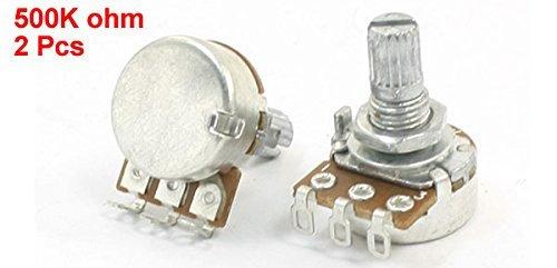 eDealMax a14012100ux0219 2 piezas 500K Ohm 15 mm Long Perilla de Volumen Bajo eléctrico de la manija del potenciómetro: Amazon.com: Industrial & Scientific
