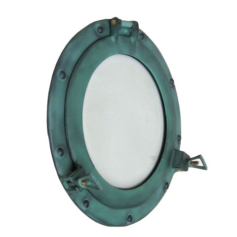 Porthole Frame In Aluminum With Green Finish, Clear Glass - 12""