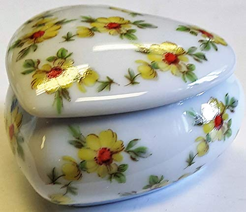 - Limoges New Authentic Signed Porcelain Hand Painted Heart Shaped 2-Pieces Box (Made in France)
