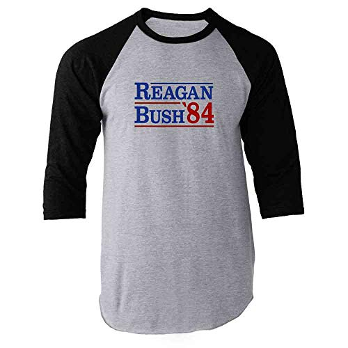 Pop Threads Ronald Reagan George Bush 1984 Campaign Black XL Raglan Baseball Tee Shirt