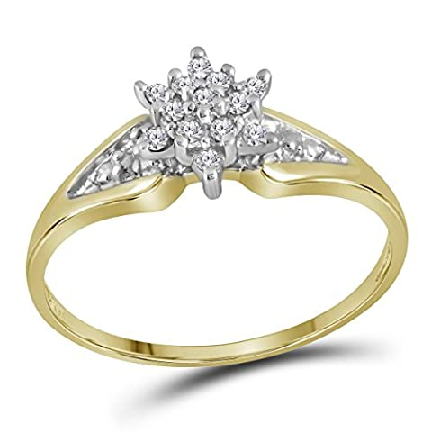 Size 9.5 - 10k Yellow Gold Round Diamond Star Cluster Ring (1/10 Cttw) - 10k Gold Cluster Ring