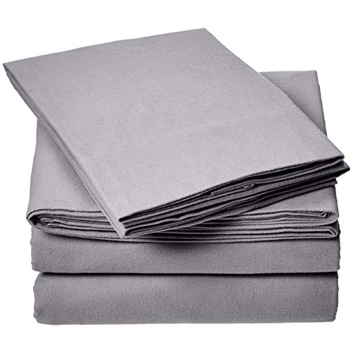 - AmazonBasics Everyday Flannel Bed Sheet Set - California King, Grey