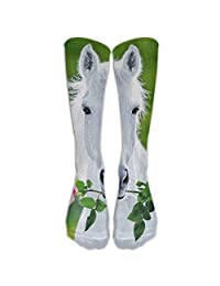 Long White Horse Socks Women's Winter Vintage Cotton Wool Knit Long Crew Socks 50cm