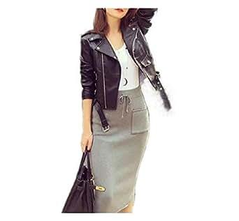 Howely Women's Biker Moto Short Slim Classic Lapel Zipper Jacket Coat Black S