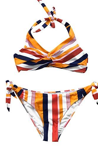 CUPSHE Women's Navy and Orange Striped Twist Self Tie Halter Bikini Small (Ties Twist Stripe)