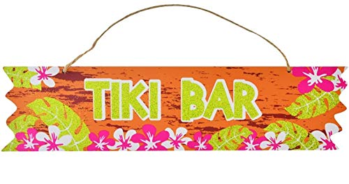 Wooden Tiki Bar - Scout & Company Tiki Bar Sign for Tropical Hawaiian Luau Party Supplies | Wooden Decorations with Pink Hibiscus | Orange Plaque for Kitchen or Outdoor Patio Decor