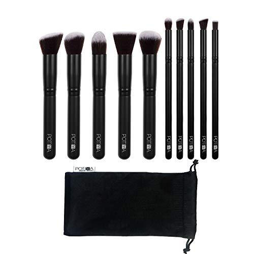 Makeup Brushes,POTIYA 10 Pcs Professional Kabuki Premium Synthetic Cosmetic Makeup Brush Set Kit (Black)
