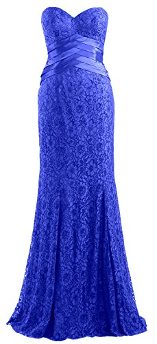Evening Women Party Mermaid Wedding Gown MACloth Formal Lace Blue Strapless Royal Dress wI6d4xH6q