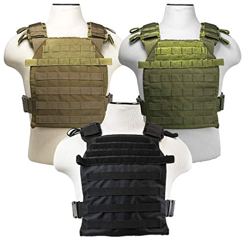ATG Lightweight Tactical Vest MOLLE and PALS Fully Adjustable (Black, 10
