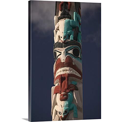 Walter Bibikow Premium Thick-Wrap Canvas Wall Art Print Entitled Alberta, Jasper National Park, Jasper, Native Canadian Totem Pole 12