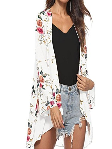 Price comparison product image ANJUNIE tops Women Blouse, Floral Cover Casual Tops Loose Kimono Cardigan Capes(White,M)