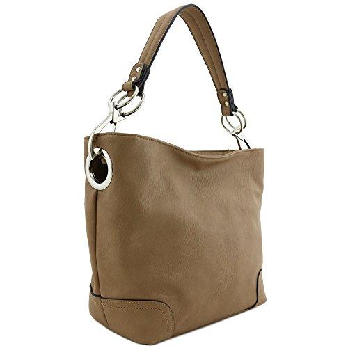 Hobo Shoulder Bag with Big Snap Hook Hardware (Tan)