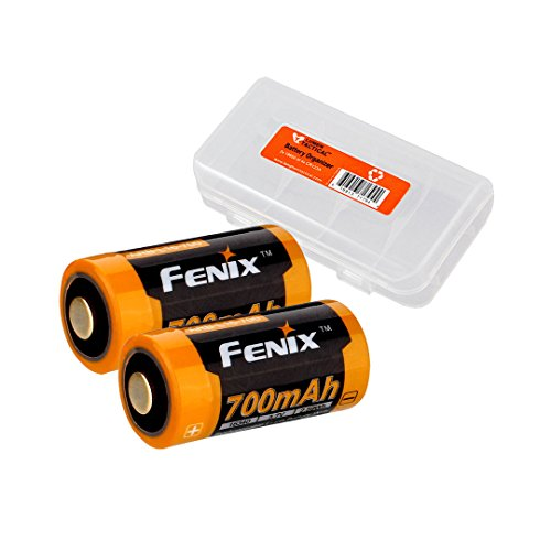 TWO PACK: Fenix ARB-L16 RCR123A RCR123 700mAh Protected Rechargeable Batteries & Organizer - Designed for PD35, E15, RC09, PD25, and other LED Flashlights (Protected Rcr123 compare prices)