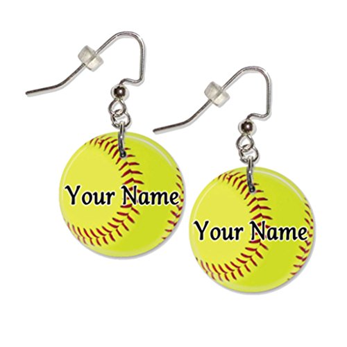 Custom Button Earrings (Personalized Yellow Softball Button Dangle Sports Earrings)