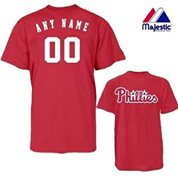 wholesale dealer 2ac01 1fbd9 Majestic Athletic Philadelphia Phillies Personalized Custom (Add Any Name &  Number) 100% Cotton T-Shirt Replica Major League Baseball Jersey