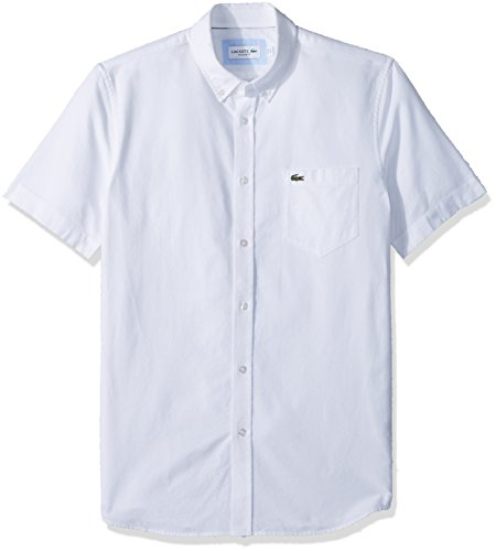 Lacoste Men's Short Sleeve Oxford Button Down Collar Regular Fit Woven Shirt, White, Large