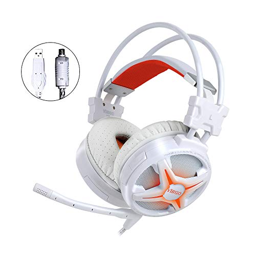WeIM Gaming Headset Virgo M60 White 7.1 Surround Sound for PC, Intelligent Vibration, Strong Bass, Voice Changer, Flexible Sensitive Mic, LED Illumination, USB Connector, Compatible with PS4