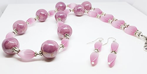 Dots Rondelle Beads - Pink Shiny Round Ceramic Beads/Silver Plated Metal Dot Rondelles/Silver Plated Metal Beads/Pink Cats Eye Glass Twist Beaded Duo Set