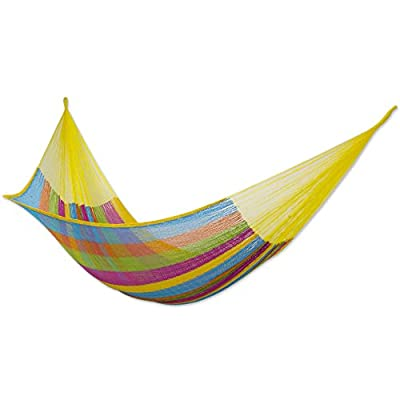"NOVICA Multicolor Cotton and Nylon Rope Mayan Hammock 'Yucatan Feast' (Double) - Size: 78"" L x 75"" W Authentic: an original NOVICA fair trade product in association with National Geographic. Certified: comes with an official NOVICA Story Card certifying quality & authenticity. - patio-furniture, patio, hammocks - 41roJvUU%2ByL. SS400  -"