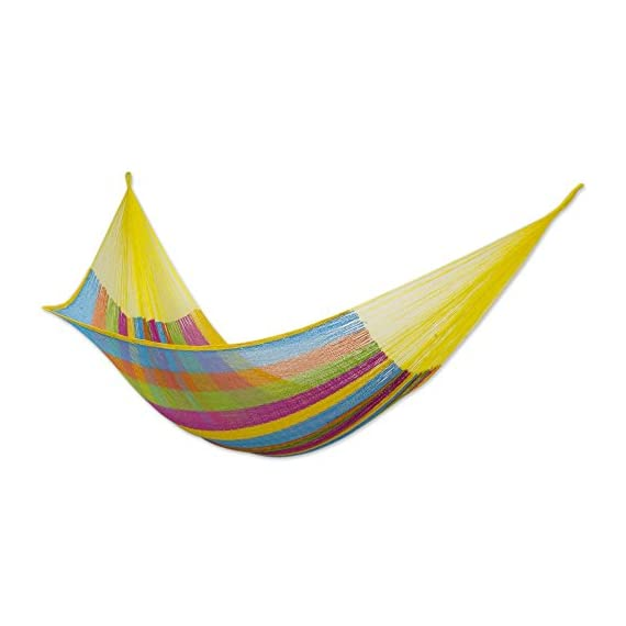 "NOVICA Multicolor Cotton and Nylon Rope Mayan Hammock 'Yucatan Feast' (Double) - Size: 78"" L x 75"" W Authentic: an original NOVICA fair trade product in association with National Geographic. Certified: comes with an official NOVICA Story Card certifying quality & authenticity. - patio-furniture, patio, hammocks - 41roJvUU%2ByL. SS570  -"