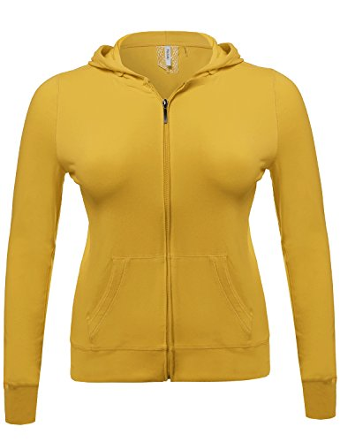 Zip-Up Closure Hoodie W/ Long Sleeve And Lined Drawstring Hood Mustard Size 2XL