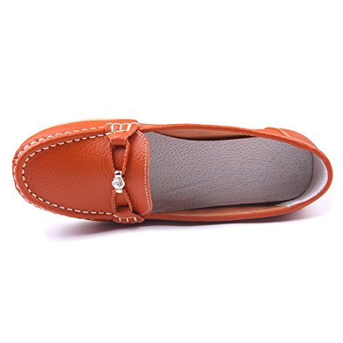 Chicnchic Dames Casual Instappers Loafer Ronde Neus Moccasin Lederen Drijfslipjes Platte Schoenen Oranje