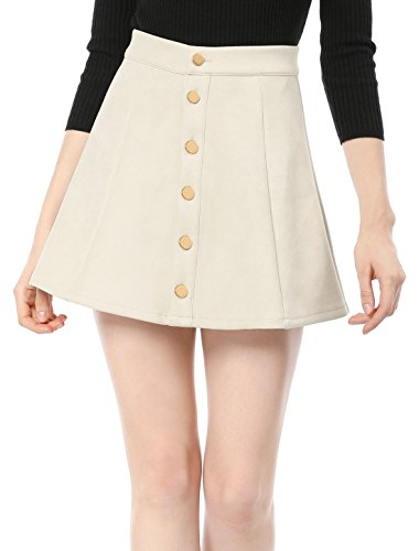Allegra K Women's Faux Suede Single Breasted Front Button Down Short Mini A-Line Skirt L Beige Button Pleated Mini Skirt