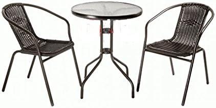 PRO GARDEN Juego de jardín de ratán sintético Aquiles 2 sillas con Mesa: Amazon.es: Jardín