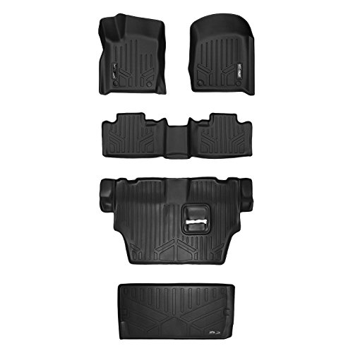 MAX LINER A0315/B0071/C0071/E0113 Floor Mats 3 Cargo Liner Behind 3rd Set Black for 2016-2019 Dodge Durango with 2nd Row Bench Seat