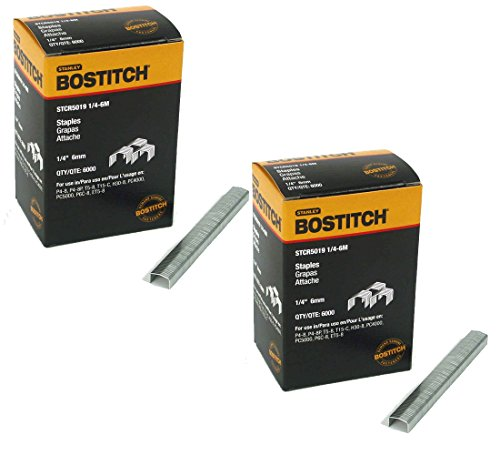 BOSTITCH STCR50191/4-6M 1/4-Inch by 7/16-Inch Heavy-Duty PowerCrown Staple (6,000 per Box) (2 Pack)