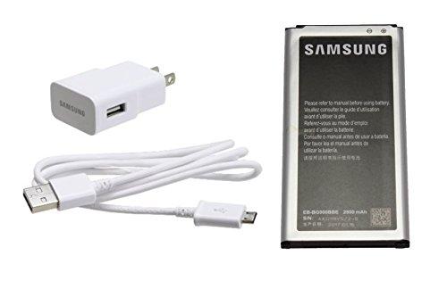 Genuine OEM Samsung Battery EB-BG900BBC EBBG900BBC 2800mAh For Samsung Galaxy S5, S5 Sport and S5 Active with Original Samsung Micro-USB White Charger (Non-Retail Package) - Active Samsung Galaxy S5