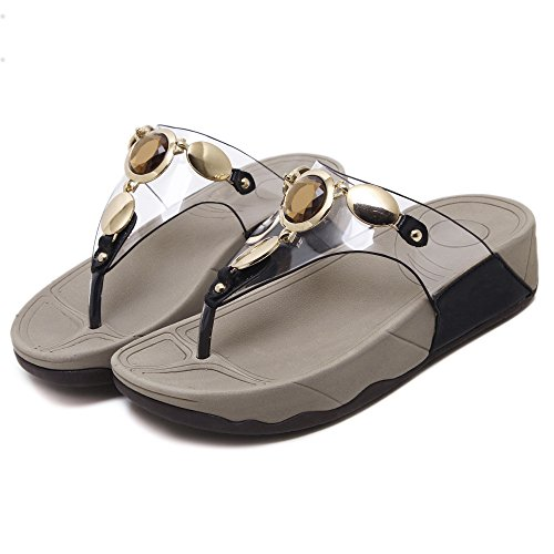 De Toe Black Señoras On Sandals Mid Cuña Las De Slip Mules Peep Forrado De Wedge Cuero Tacón x4aqfTzwIq