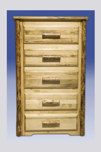 Country Five Drawer Pine Chest - Montana Woodworks MWGC5D Glacier Country Collection 5 Chest of Drawers, Stain and Lacquer