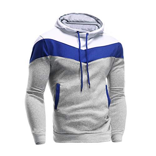 Fanteecy Mens Slim Fit Hoodie Color Block Pullover Hooded Sweatshirt Outwear Hoodies with Kanga Pocket (M, Gray A)