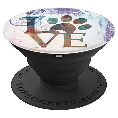 Animal Quote Love with Puppy Paw Print on Watercolor Pastel - PopSockets Grip and Stand for Phones and Tablets -