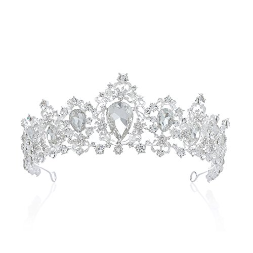 SWEETV Royal CZ Crystal Tiara Wedding Crown Princess Headpieces Bridal Hair Accessories, Clear+Silver ()