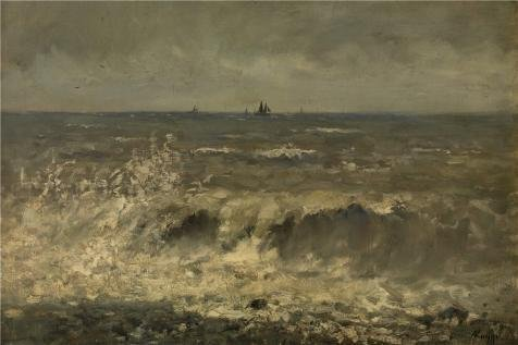 Oil Painting 'Rough Sea By Alfred De Knyff', 8 x 12 inch / 20 x 31 cm , on High Definition HD canvas prints is for Gifts And Game Room, (Curtain Call Costumes Perform)