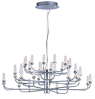 ET2 E24365-09PC Candela LED Pendant Multi-Tier Chandelier, Polished Chrome Finish, Frost White Glass, PCB LED Bulb, 40W Max., Dry Safety Rated, Shade Material, 3120 Rated Lumens