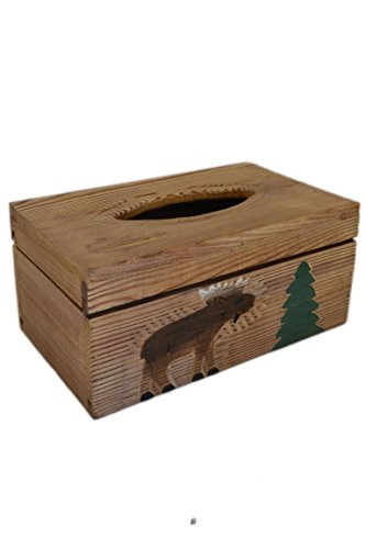 - American Chateau Moose Cottage Decor Hand Carved Wood Kleenex Dispenser Tissue Box Cover Holder